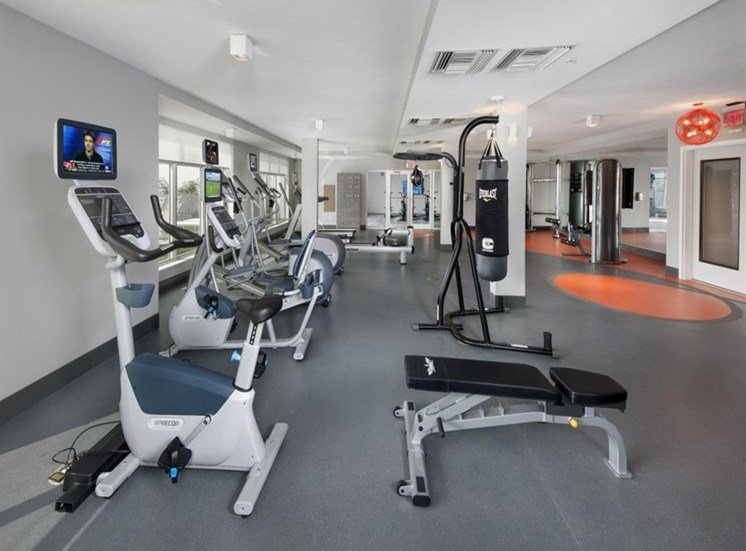 High-Tech Fitness Center at SofA Downtown Luxury Apartments, Delray Beach, FL