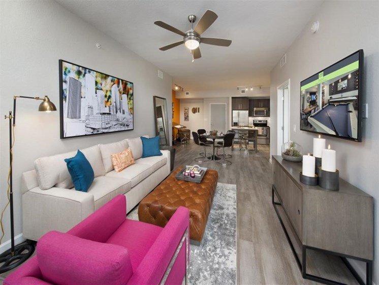 Lively Living Rooms at SofA Downtown Luxury Apartments, Delray Beach, FL 33483