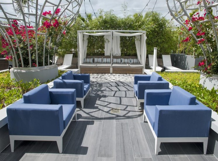 Outdoor Relaxing Area with Cabana at SofA Downtown Luxury Apartments, Delray Beach