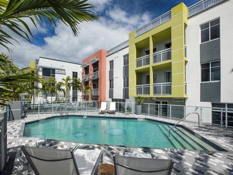 Resort-Style Swimming Pool at SofA Downtown Luxury Apartments, Delray Beach, FL 33483