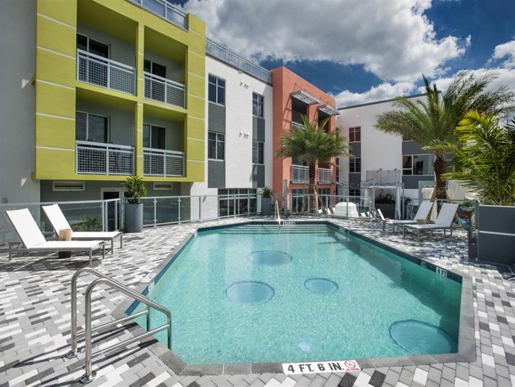 Poolside Sundeck at SofA Downtown Luxury Apartments, Delray Beach, 33483