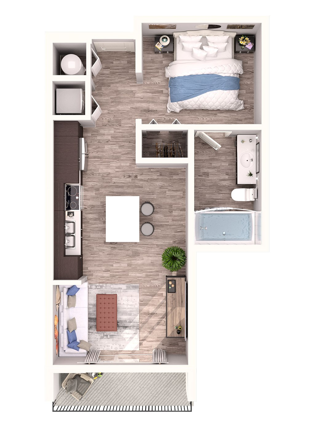 S1 Floor Plan at SofA Downtown Luxury Apartments, Delray Beach, Florida