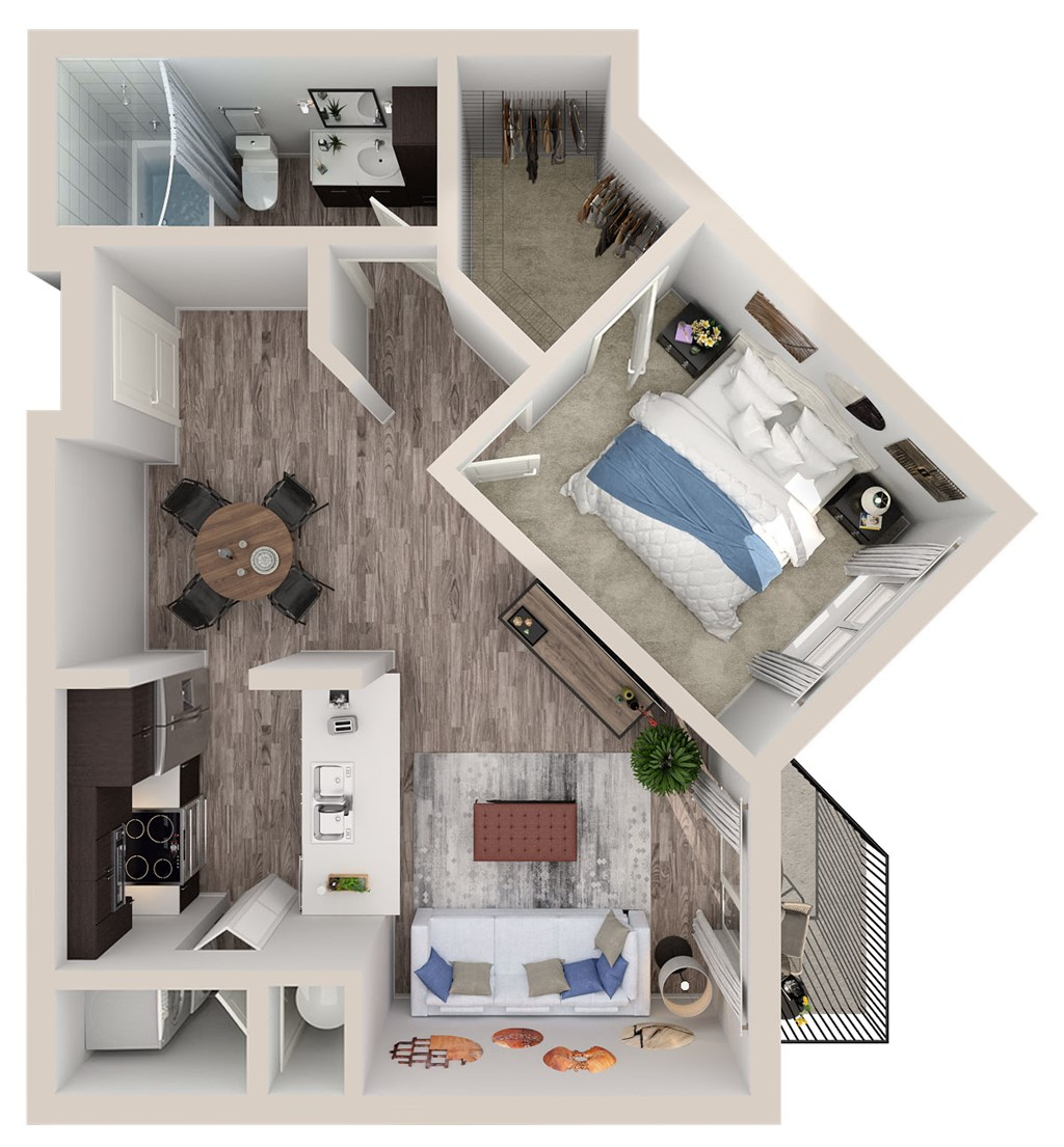 A4 Floor Plan at SofA Downtown Luxury Apartments, Florida