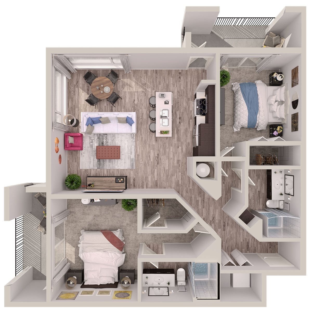 B2 Floor Plan at SofA Downtown Luxury Apartments, Delray Beach, FL, 33483