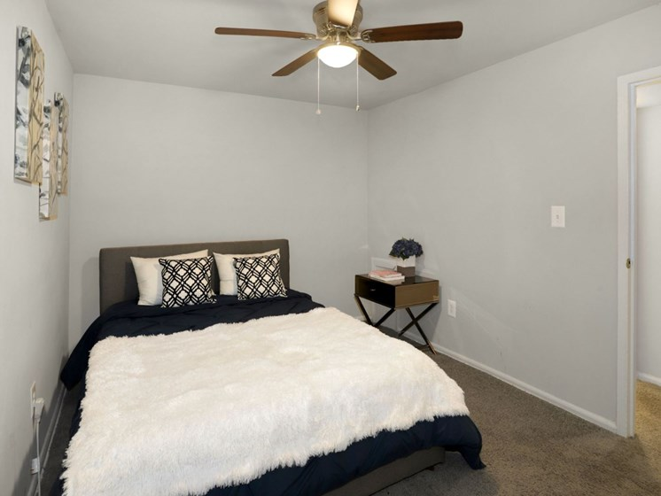 front view of carpeted bedroom twin-size bed and gray wall