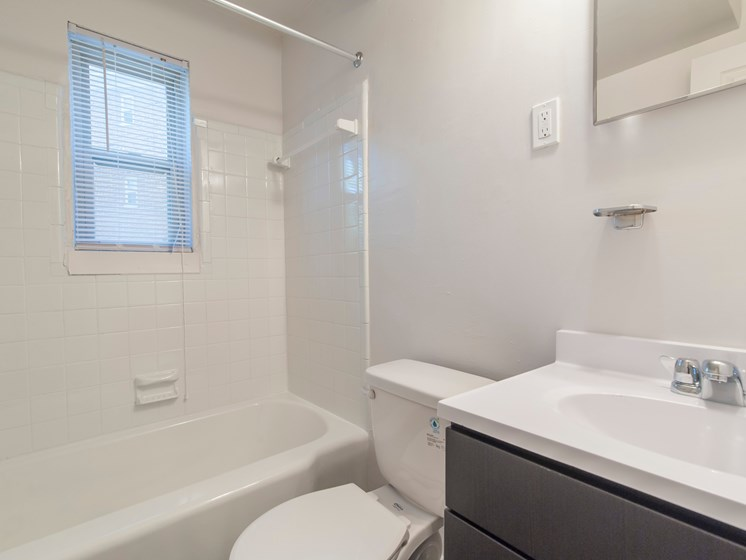 well-lit full-size bathroom with vanity