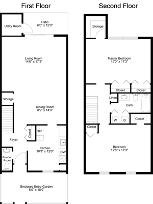 floor plan of a 2 bedroom 1.5 bath town home