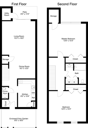 floor plan of a 2 bedroom 1 bath town home
