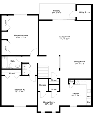 floor plan of a 1 bedroom 1 bath apartment
