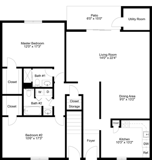 floor plan of a 2 bedroom 2 bath apartment