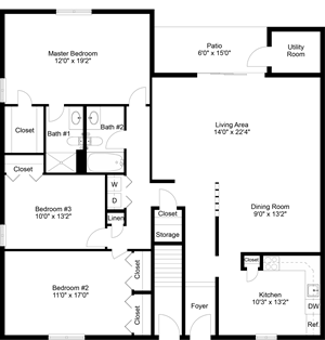 floor plan of a 3 bedroom 2 bath apartment