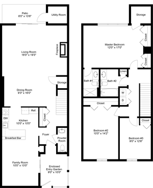 floor plan of a 3 bedroom 2 bath apartment town home