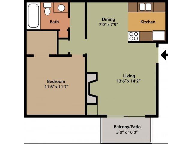 One Bedroom (Wisteria) Floor Plan 2