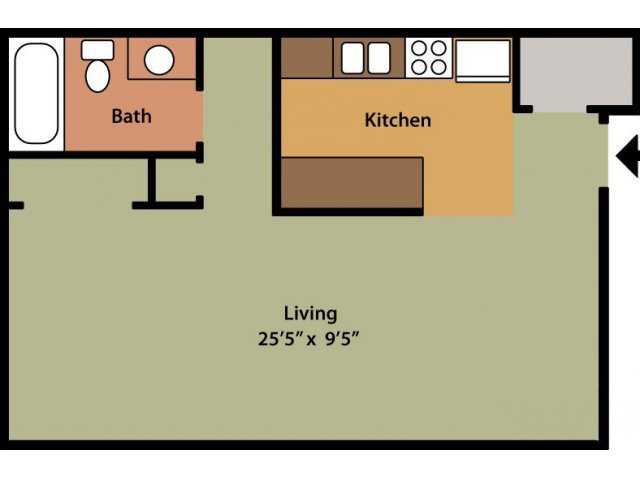 Studio (Willow) Floor Plan 1