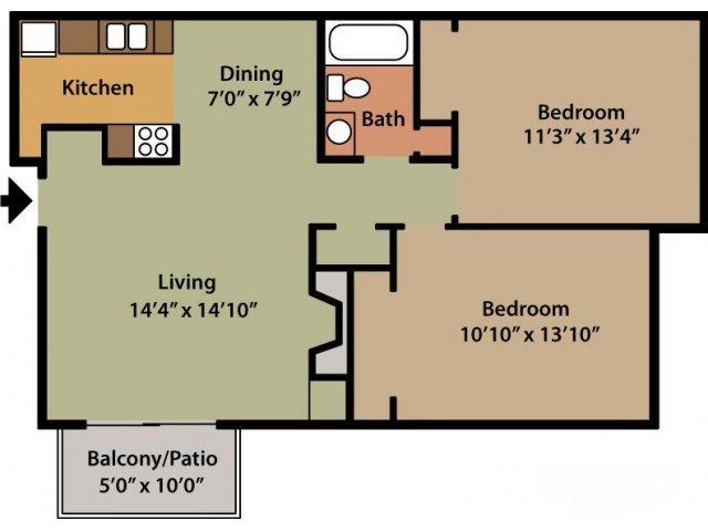 Two Bedroom (Ivey) Floor Plan 3