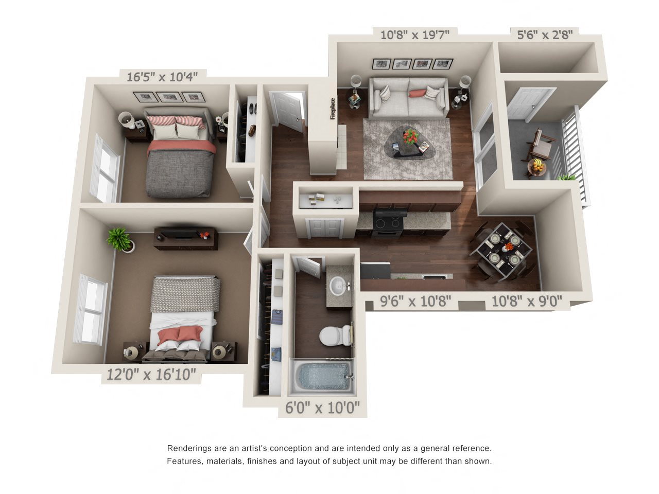 2 Bedroom 1 Bathroom Floor Plan 2