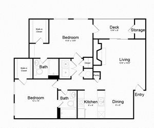 Two Bed Two Bath Floor plan at The Madison at Eden Brook, Columbia, Maryland