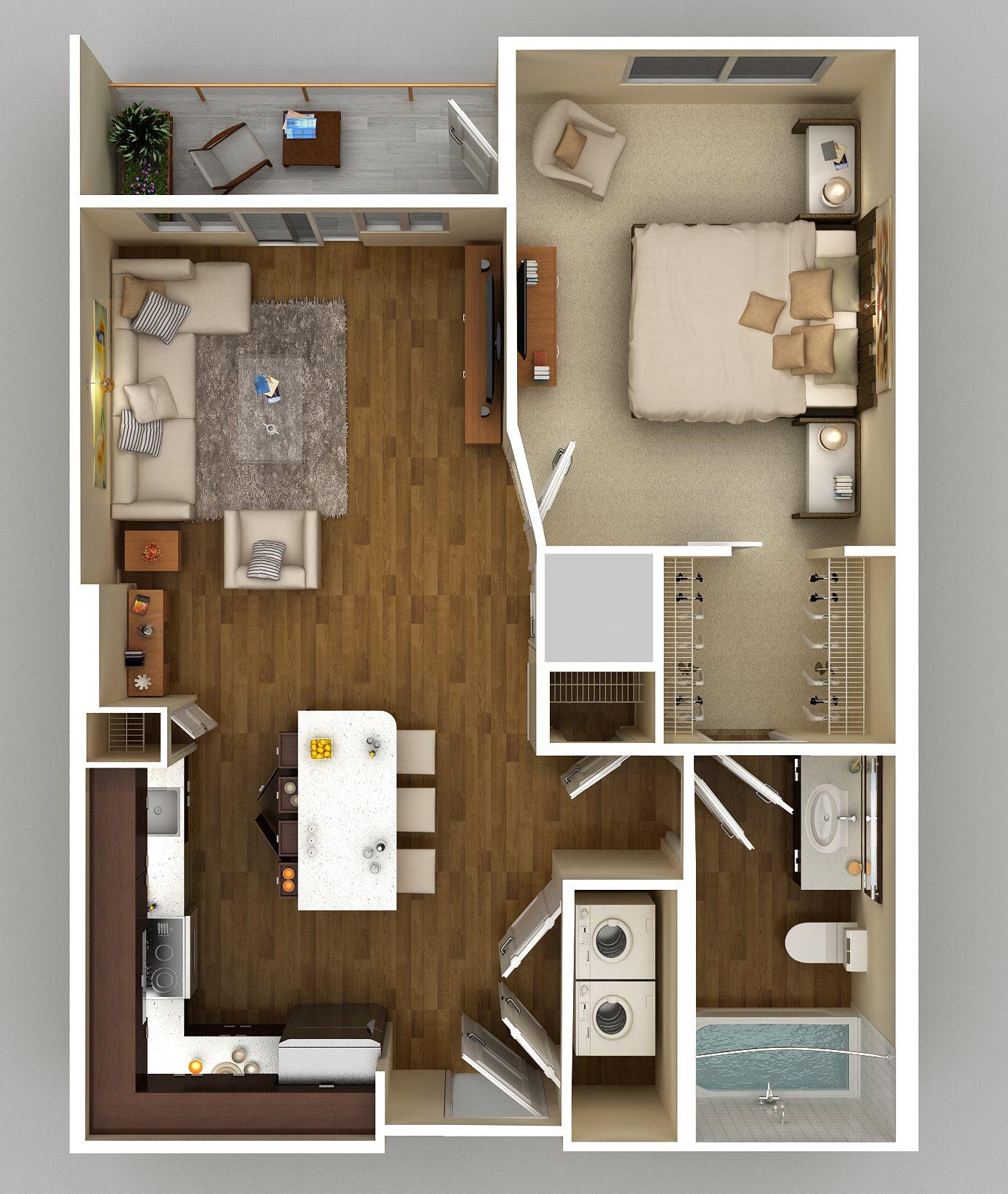 1x1 C Floor Plan 3