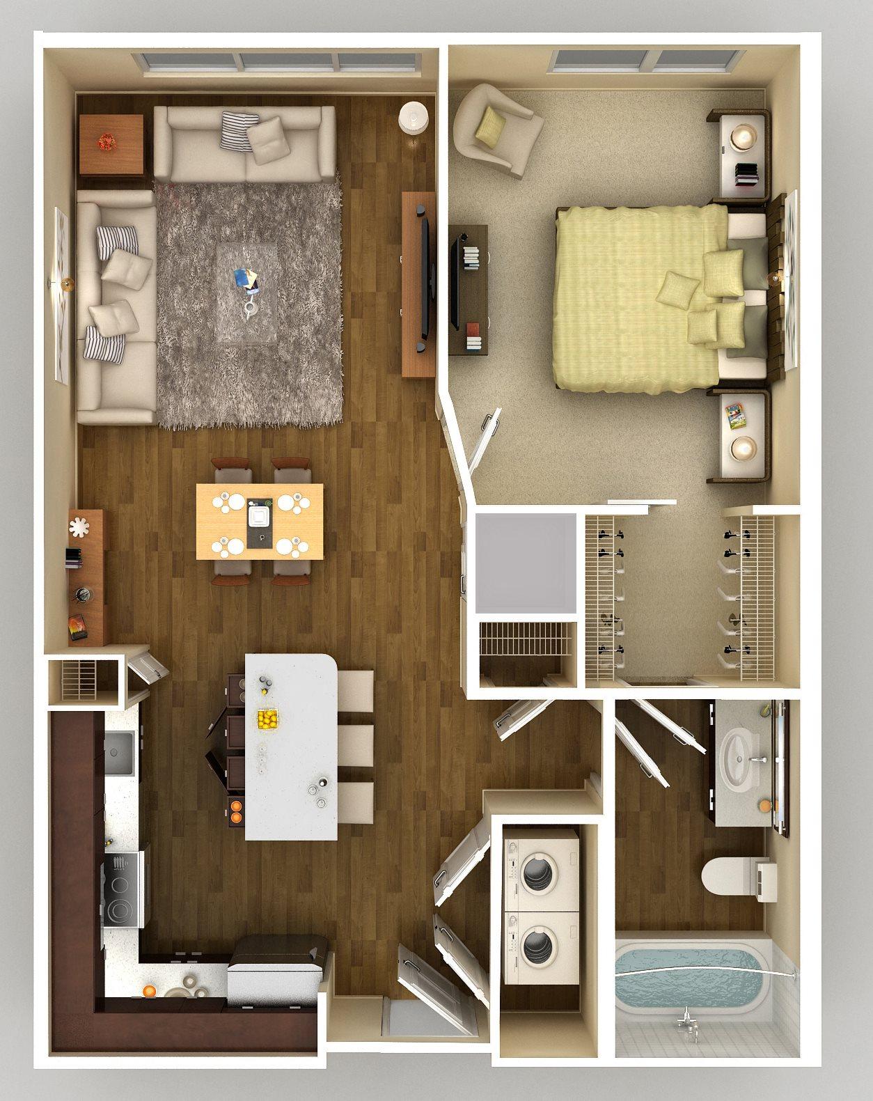 1x1 D Floor Plan 4