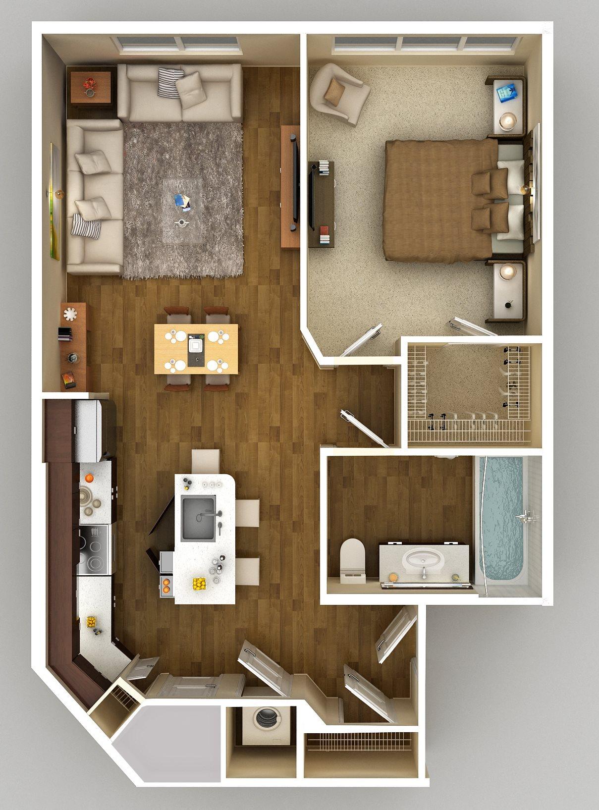 1x1 B Floor Plan 2