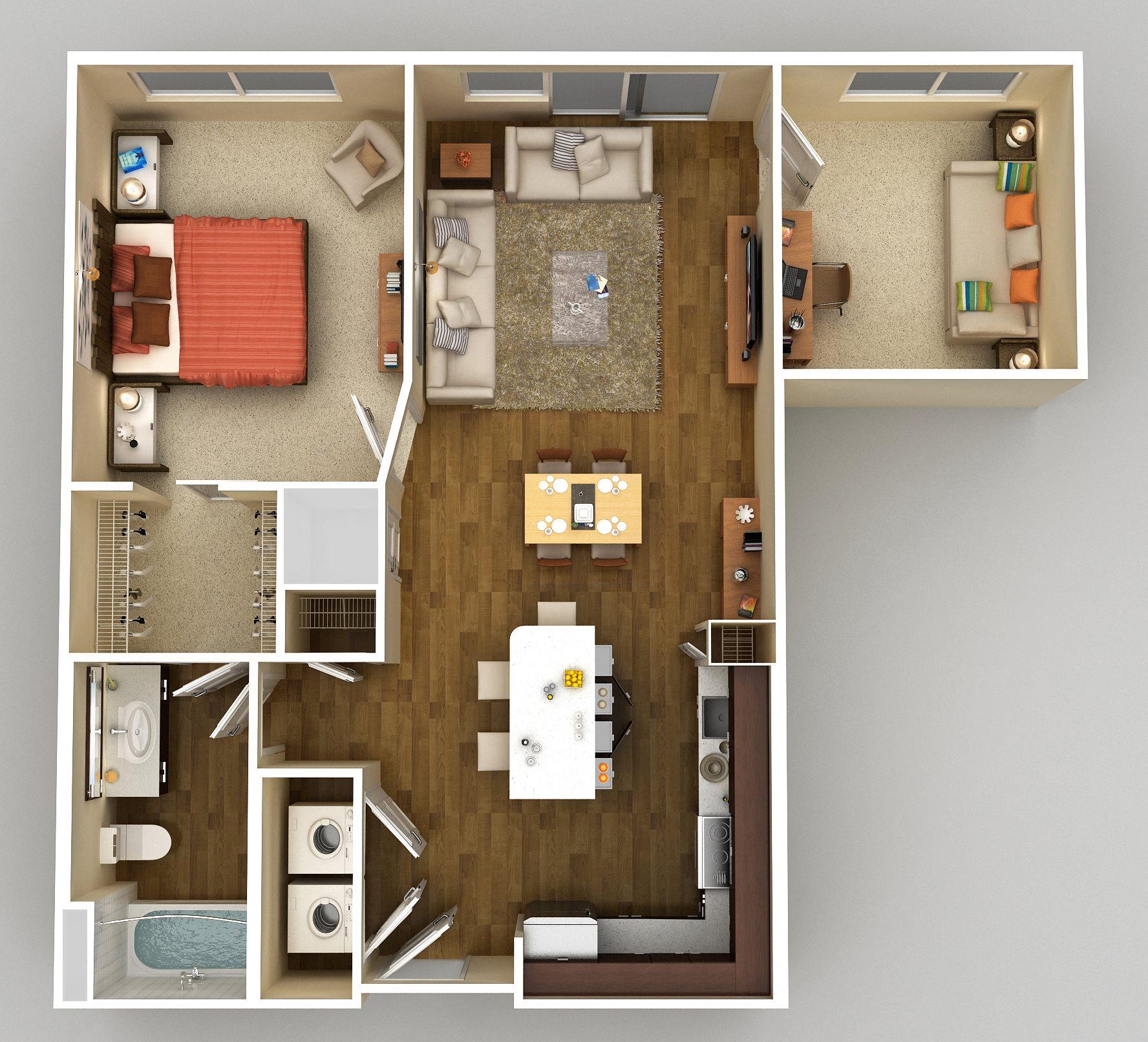 1x1 Den F Floor Plan 6