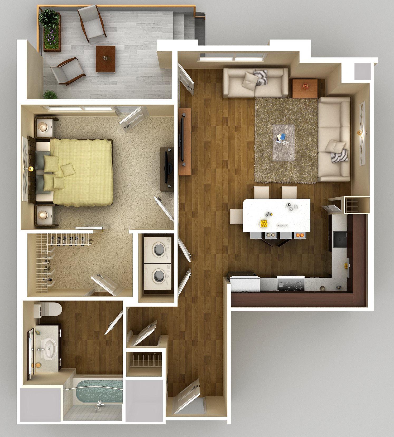 1x1 E Floor Plan 5