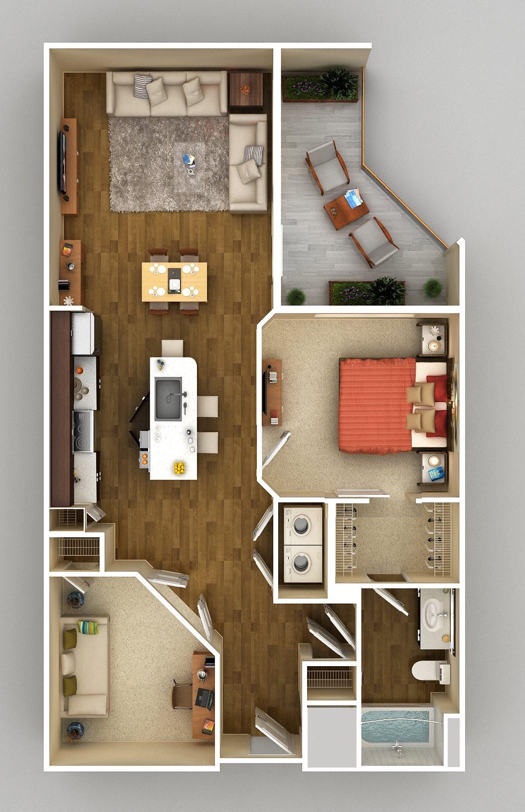 1x1 Den H Floor Plan 8