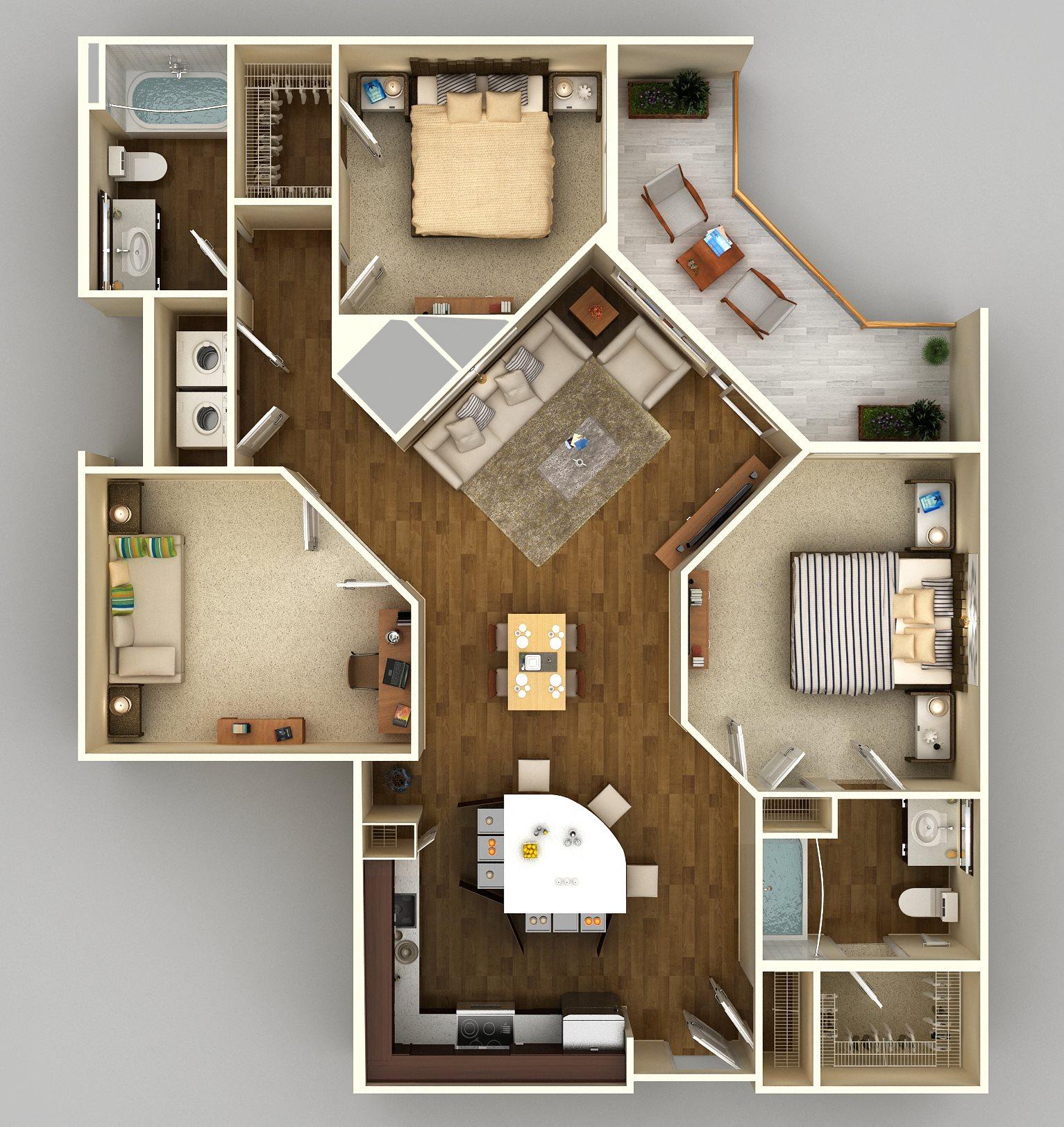 2x2 Den G Floor Plan 15