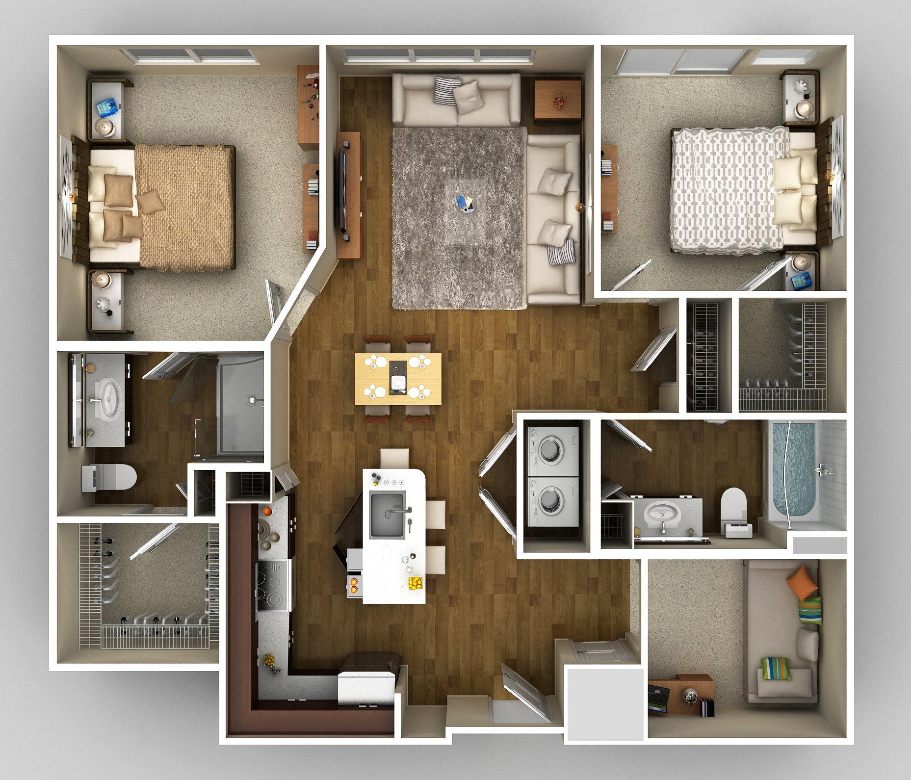2x2 Den E Floor Plan 12