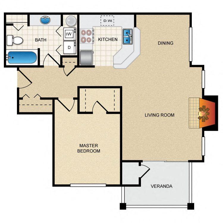 1 Bed 1 Bath Floor Plan at Thorncroft Farms Apartments, Oregon, 97124