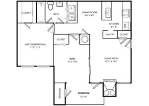 One Bed One Bath Floor plan at The Hamilton at Kings Place, Columbia, MD