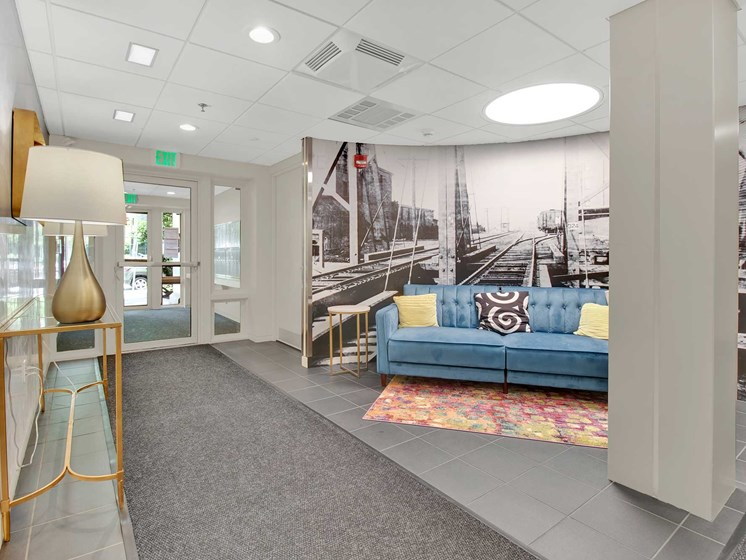 Kendall Crossing modern lobby design with photo mural