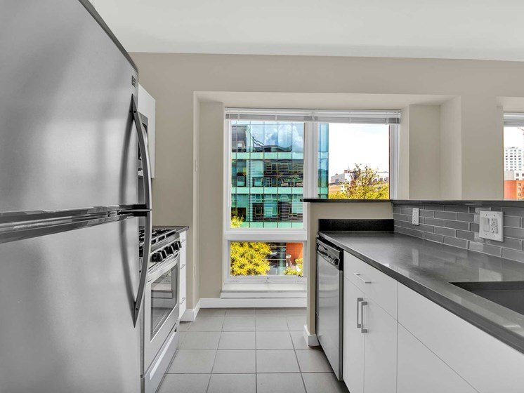 Kitchen with street and skyline views