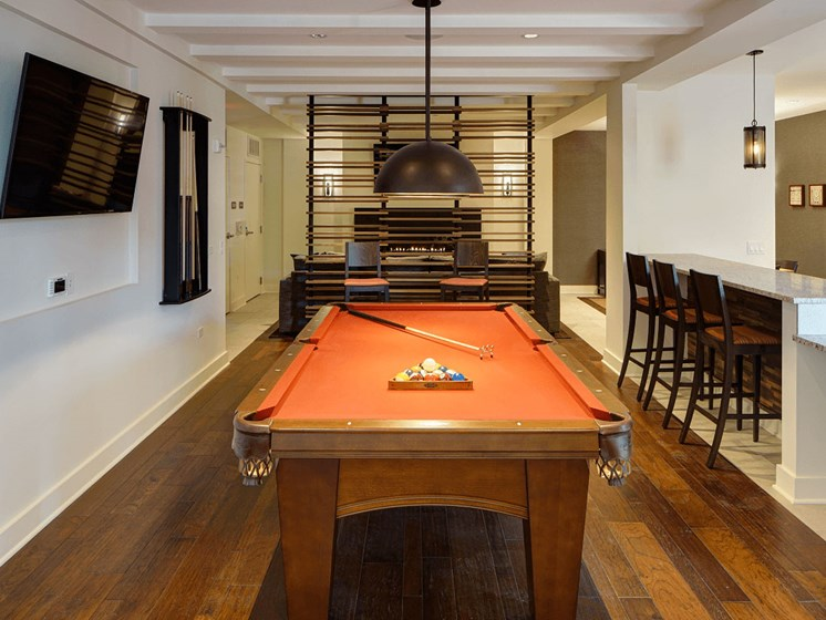 Recreation Room with Billiards Table at Courthouse Square Apartments, Wheaton, IL, 60187