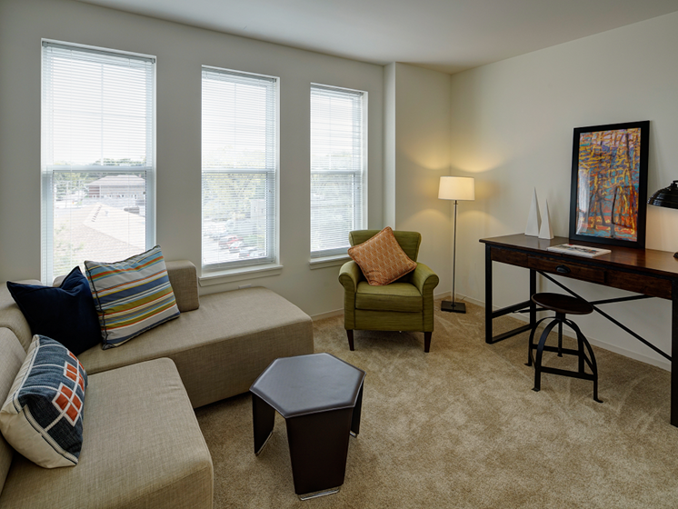 Lively Living Rooms at Courthouse Square Apartments, Wheaton, IL
