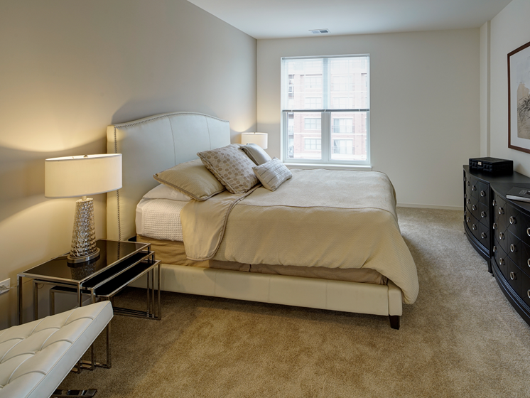Classic Bedroom at Courthouse Square Apartments, Wheaton
