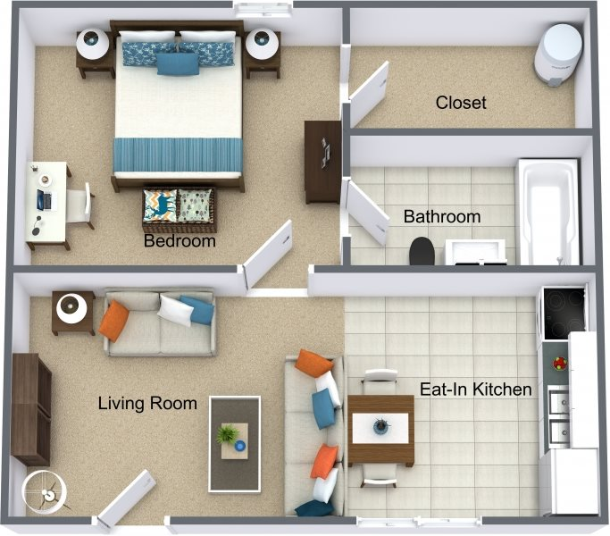 Large One Bedroom Floor Plan 2