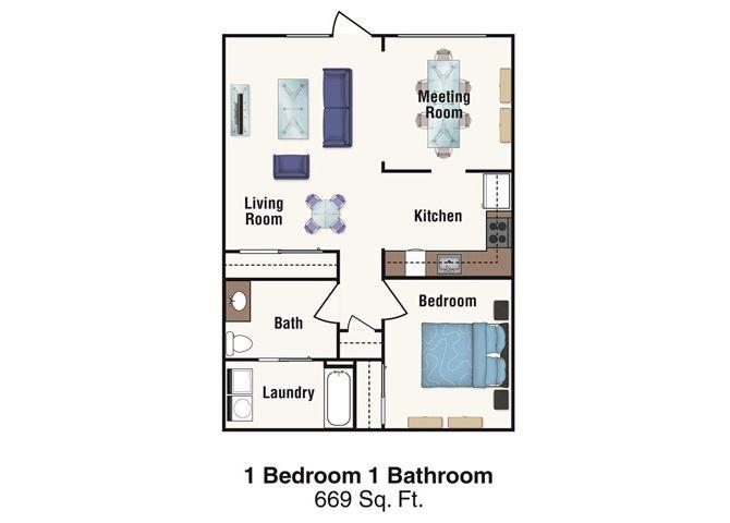 1 Bedroom 1 Bath 669 square feet-Live/Work Unit- 2D Floorplan-Legacy Pointe at Poindexter Columbus, OH