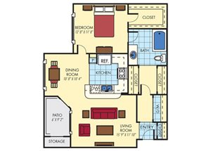 Mission Fairways| A2 Floor Plan 1 Bedroom 1 Bath