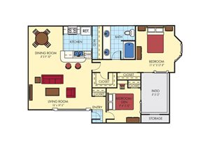 Mission Fairways| A3 Den Floor Plan 2 Bedroom 1 Bath