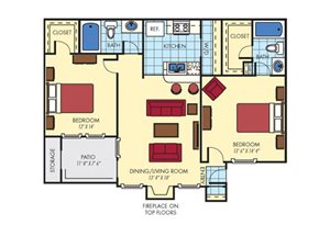 Mission Fairways| B2 Den Floor Plan 2 Bedroom 2 Bath