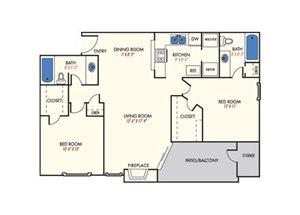 Mission Reilly Ridge  B1 Floor Plan 2  Bedroom 2 Bath