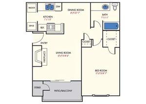 Mission Reilly Ridge  A3 Floor Plan 1 Bedroom 1 Bath