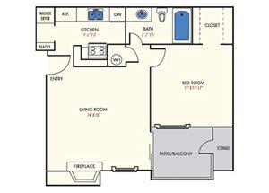 Mission Reilly Ridge  A1 Floor Plan 1 Bedroom 1 Bath