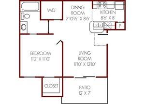 Mission Rockwall| A Floor Plan 1 Bedroom 1 Bath