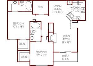 Mission Rockwall| D  Floor Plan 2 Bedroom 2 Bath