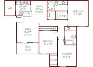 Mission Rockwall| E  Floor Plan 3 Bedroom 2 Bath