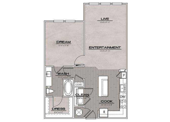 A2SUN- One Bedroom/One Bath- 828 sf Floor Plan 4
