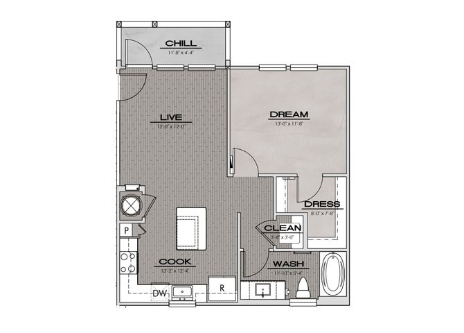 A5- One Bedroom/One Bath- 689 sf Floor Plan 6