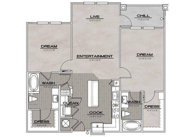 B1ALT- Two Bedroom/Two Bath- 1,142 sf Floor Plan 9